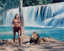 Tarzan with lion in front of watefall